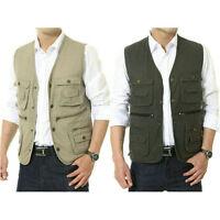 Mens Multi Pocket Vest Fishing Hunting Travel Safari Outdoor Vest Waistcoat