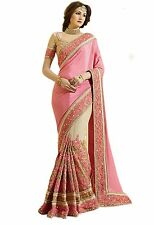 Indian Ethnic Embroidered Satin Chiffon Pink Bollywood Saree Sari D.No SAR1328