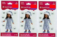 3 New Packs AMERICAN GIRL Bubble Epoxy Stickers! Winter PJ's snowflake Cocoa
