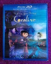 Coraline 3D  (Blu-ray 3D/Blu-ray+DVD, 2012) NEW w/ Lenticular Slipcover