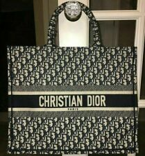 Authentic Christian Dior Oblique Book Tote Bag Navy Canvas Embroidered
