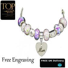 Heart Pendant Personalised Engraved Name Bead Bracelet Silver Charm Jewellery
