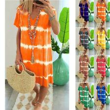 Women Summer Tie-dye Short Sleeve V Neck Dress Loose Beach Casual Tops Sundress