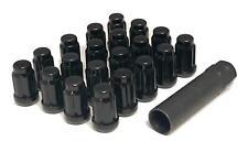 Set of 20 12x1.25 Black Spline Lug Nuts With Key For Aftermarket Wheels