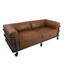 Design Club DIVANO Wakefield Cuba Marrone in Pelle Vintage Acciaio 2,5 posti divano in pelle