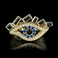 Women Sapphire Rings Jewelry Size 6 Gorgeous 18k Yellow Gold Plated Rings