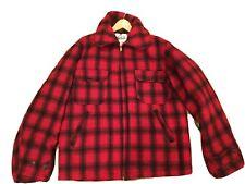 VTG Woolrich Jacket Buffalo Plaid Red Black Hunting Duck Wool USA - Men's Sz 40
