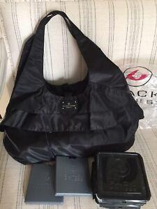 Six Pack Fitness Asana Travel Meal Prep Black Taffeta Nylon Tote Bag Fit VGUC