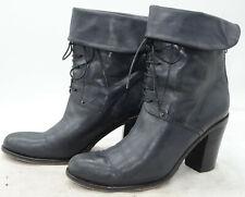 MERCANTE DI FIORI Italy Womens Sz 38 Cuff Gray Leather High Heel Back Zip Boots