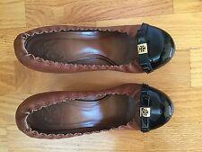 Tory Burch Brown Black Logo Pumps Shoes Heels 7.5