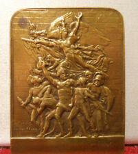 1908 French Art nouveau medal bronze plaque by Dubois Marseillaise