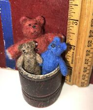 OOAK Doll Miniatures 3 TEDDY BEARS  (SET) W/Barrel  Artist  ZanyMayd