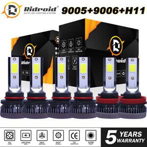 9005 9006 H11 LED Combo Headlight High Low Beam Bulb Fog Light Kit White 6000K