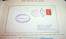Blue Star Line Envelope with San Pedro Paquebot 1952 & M.V.Columbia Star Cachet