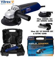 """Vitrex 900 W SMERIGLIATRICE ANGOLARE 115 mm (4.5"""") 2 GUARDIE DEL DISCO (Diamond & GRINDING) 1200 RPM"""
