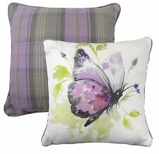 FILLED REVERSIBLE BUTTERFLY TARTAN CHECK EVANS LICHFIELD LILAC CUSHION 17""