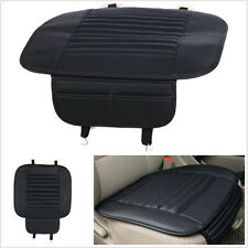 1X Black PU Leather Bamboo Charcoal Breathable Vehicle Off-Road Seat Cushion Mat
