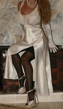 S / M LONG IVORY SATIN VINTAGE GLOSSY LINGERIE SLIP VS NIGHTGOWN NEGLIGEE