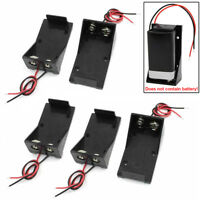 5x 2 Wires DC 9V Cell Volt Battery Storage Clip Holder Box Case Cover Well Made