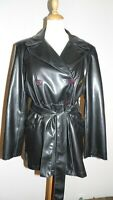 trench T42/44 imperméable cuir synthétique rain coat uk14/16 rainwear mac 326*