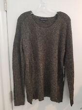 NEW Rock & Republic Women's Knit Sweater Black Gold Woven Metallic Acrylic M
