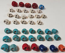 Turquoise and Stone SKULL Beads Lot of 41 Blue Red White