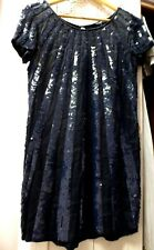 french connection sequin dress evening party navy black 10