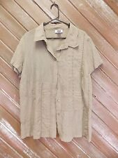Avenue Shirt Silk Button Up  Sandstone Color Size 18/20 Women's