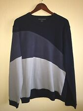 Mens FRENCH CONNECTION Long Sleeve Wool Blend Color Block Sweater Sz XL Navy EUC
