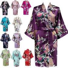 Satin Robe Peacock Floral Wedding Bridesmaid Robes Kimono Bride Women New Gown