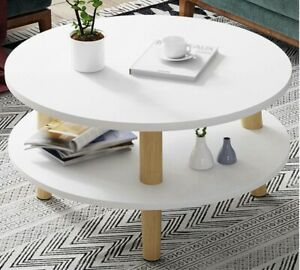 Side Table 2-layer Coffee Table Wood Round Retro Tea Table Living Room Modern