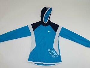 Nike Boy's Dri-Fit Hooded Athletic Jacket Large Long Sleeves Blue White L