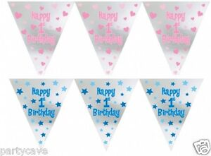 1st First Birthday Party Boy Girl 12ft Foil Pennant Banner Bunting Decoration