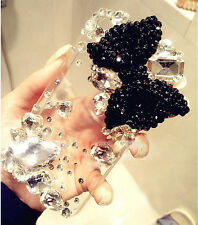 New DIY Black bow Large Crystal Finished HARD Case cover for APPLE iPhone 5 5S