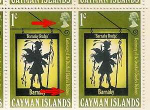 CAYMAN Is 1970 DICKENS RETOUCH + JOINED EN..BLOCK of 10