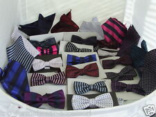 < New Arrivals > Any Set Superb Quality-100% Silk Mens Bow tie and Hankie Sets
