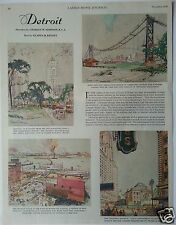 """""""Detroit"""" Sketches by Charles W. Simpson R.C.A.--Page from 1929 Magazine..."""