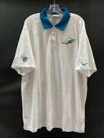 MIAMI DOLPHINS TEAM ISSUED WHITE  DRI-FIT NIKE COACHES SIDELINE POLO  SZ-XXL