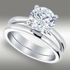 2.05 Ct Brilliant cut Solitaire Lab Engagement Ring Wedding Band 14k White Gold