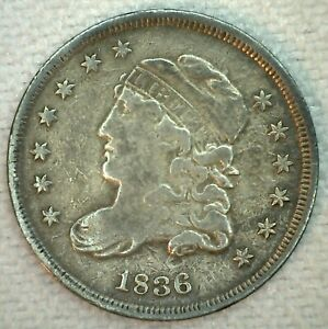 1836 US Half Dime Silver Capped Bust Type Coin Large 5 Variety Very Fine H10C VF