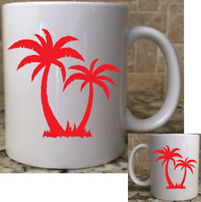 Polymer Unbreakable Plastic Camping Coffee Mug Cup 11oz 2 Palm Trees Red New