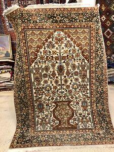 Auth: 1960's Orientalist Vase Carpet.      Ivory Wool Beauty Botanical  5x7   NR