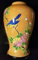 """Vintage Lusterware Blue Bird Flowers Vase Hand Painted Pottery Japan Stamped 5"""""""
