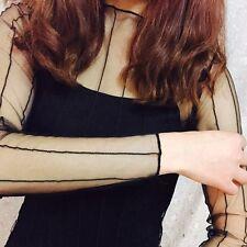 New Fashion Women Mesh Sheer See-through Long Sleeve Crop Top T-Shirt Blouse