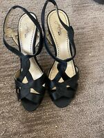 "Platinum Women Peep Toe Satin 4"" Black High Heels Slingback Shoes Size 8 M"