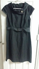 Sandra Darren Black Denim Look Dress New Size 8 WC956