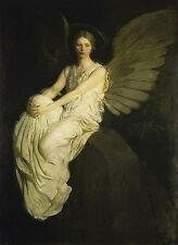 "Stevenson Memorial by Thayer, 22"" x 28"" open edition lithograph sitting angel"