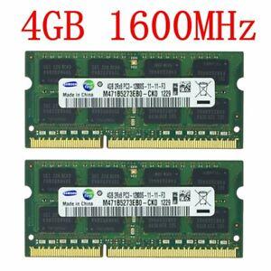 8GB 2x 4GB 1GB PC3-12800S DDR3 1600MHz 204Pin CL11 Laptop RAM For Samsung LOT CA