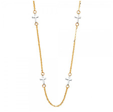 14K Solid Yellow White Gold Sideways Cross Station Pendant Rolo Chain Necklace
