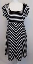 Motherhood Maternity Women's Dress Medium Black Striped Short Sleeve A Line